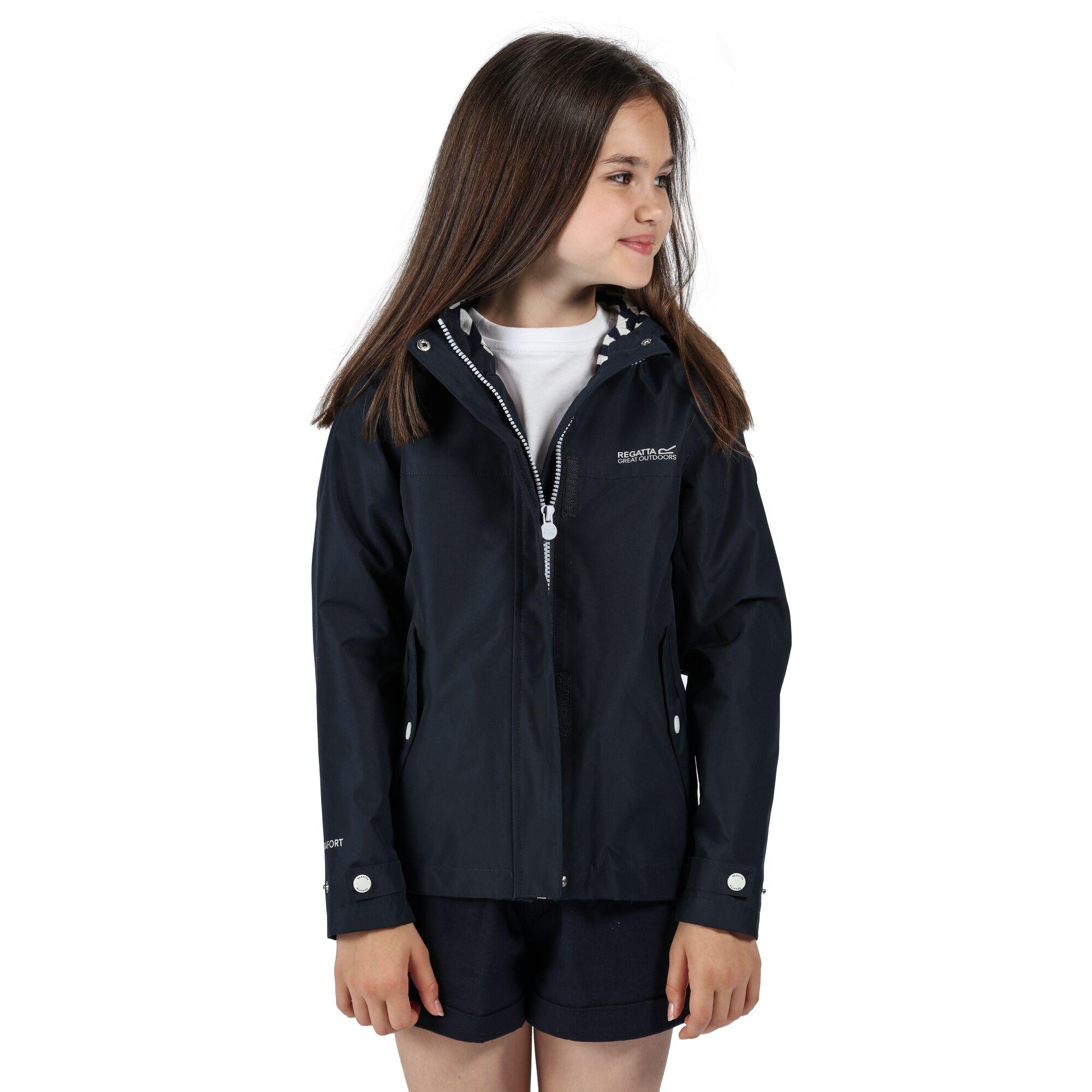 Child wearing a navy waterproof jacket.