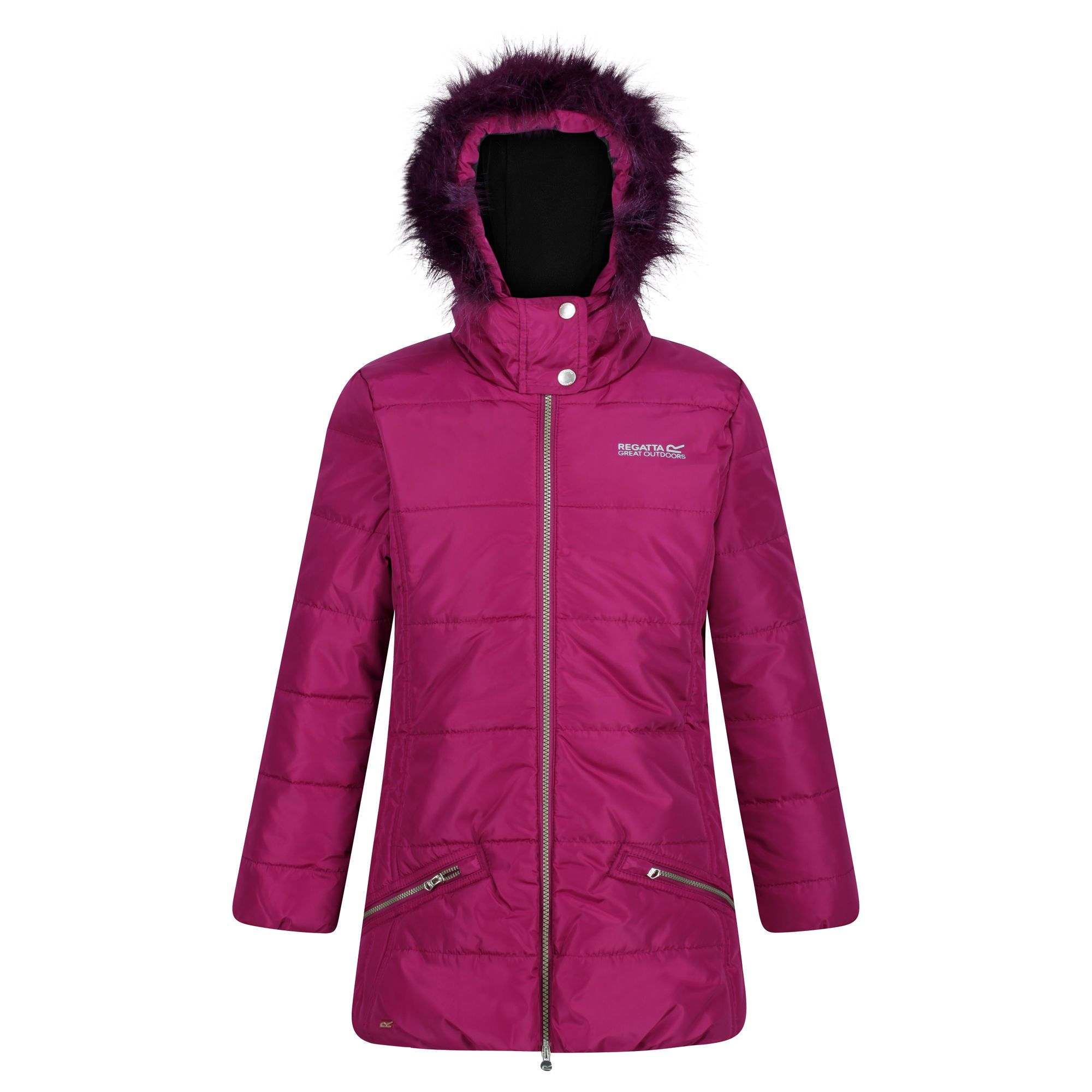 Kids' pink thick jacket with fur hood