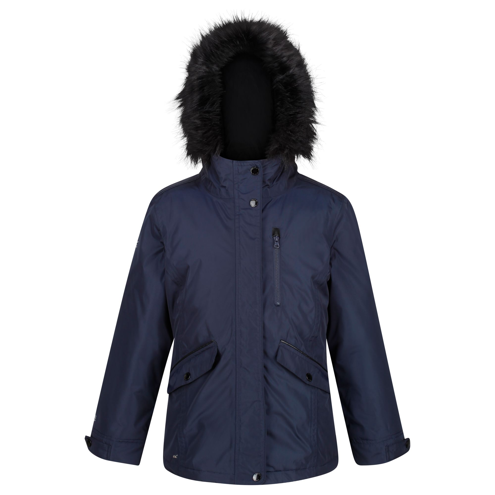Kids' navy thick jacket with fur hood