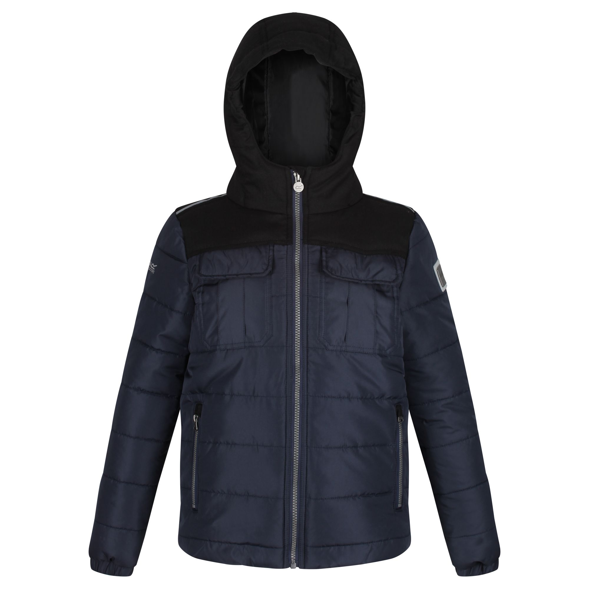 Kids' navy hooded thick jacket