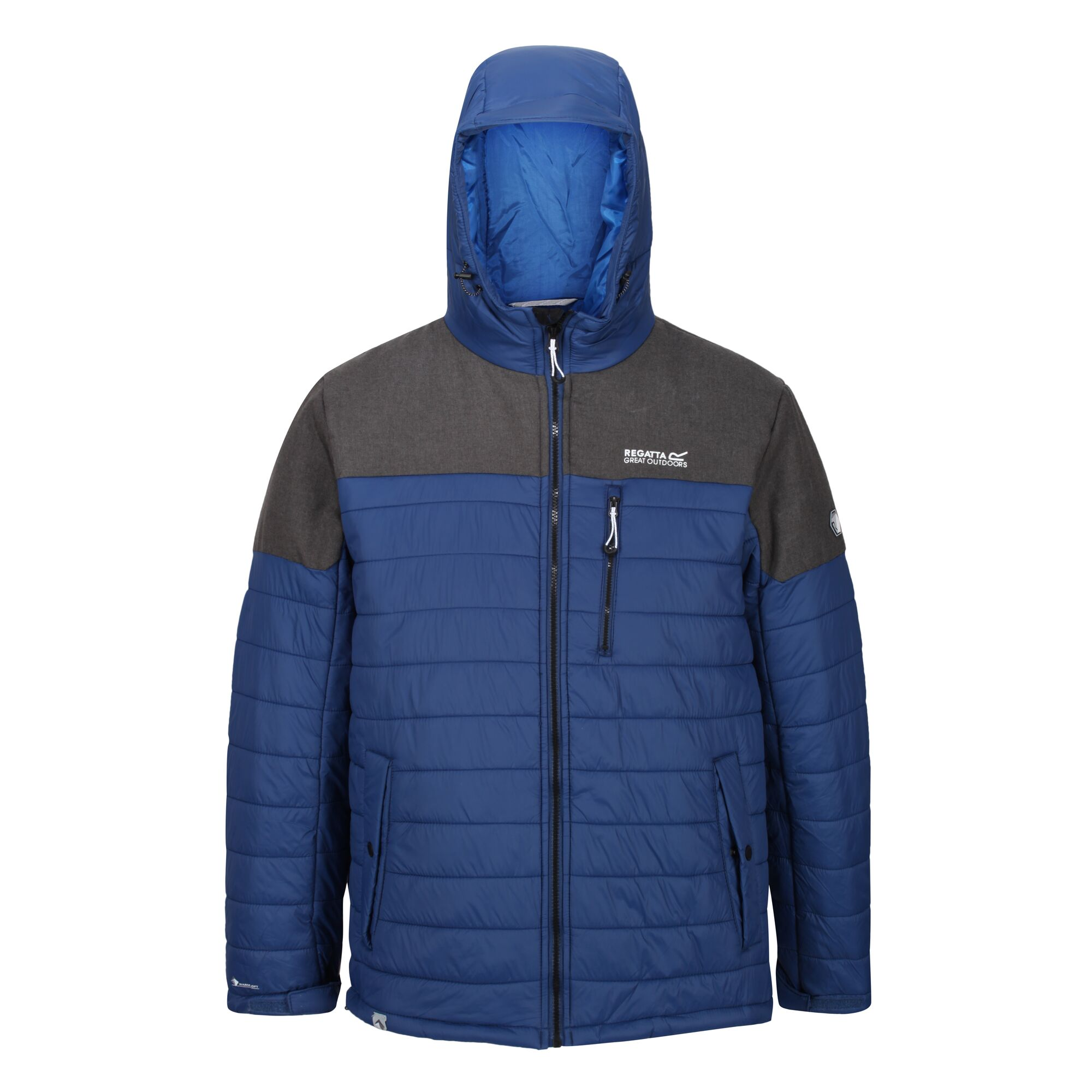 Men's blue and grey hooded thick jacket