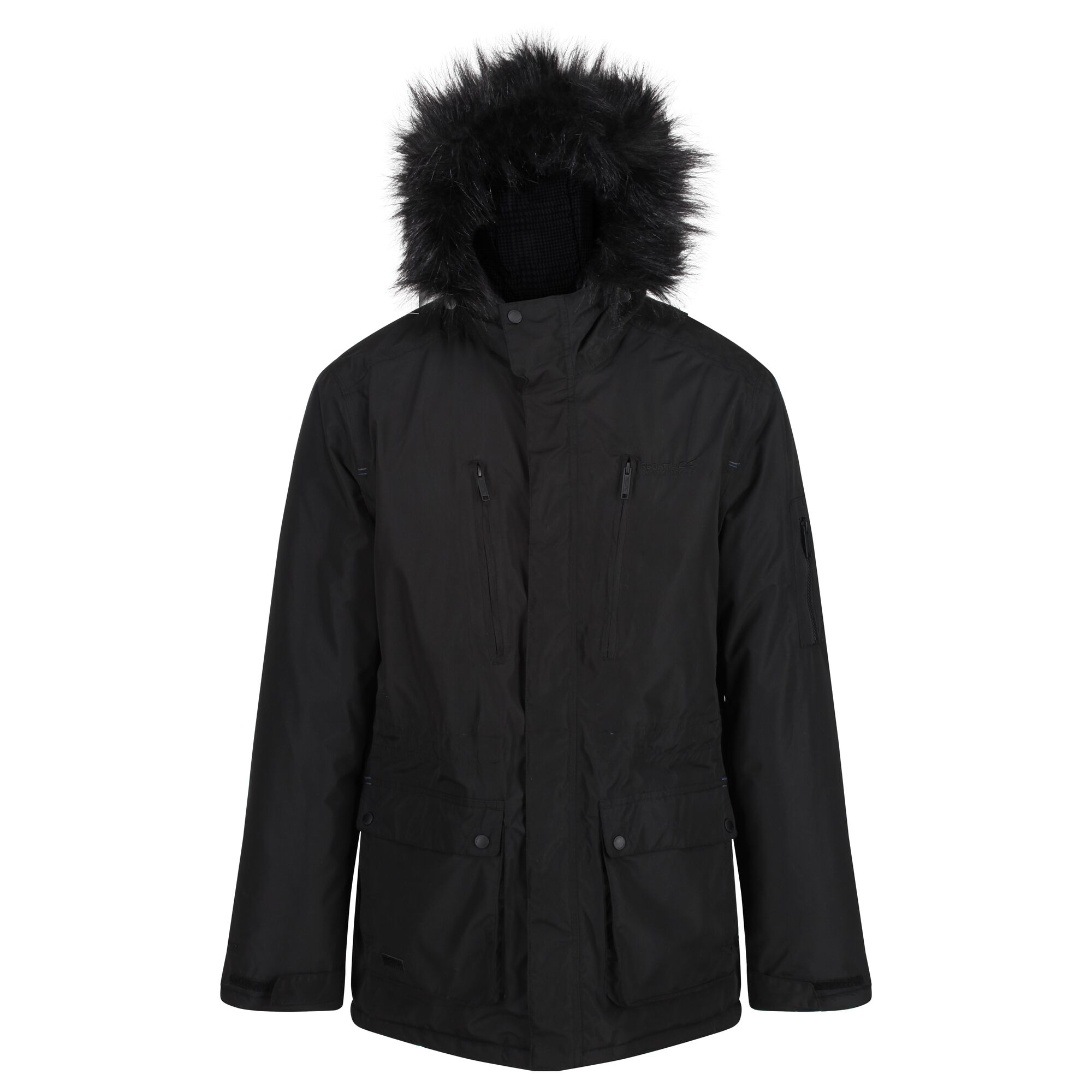 Men's black thick jacket with fur hood.