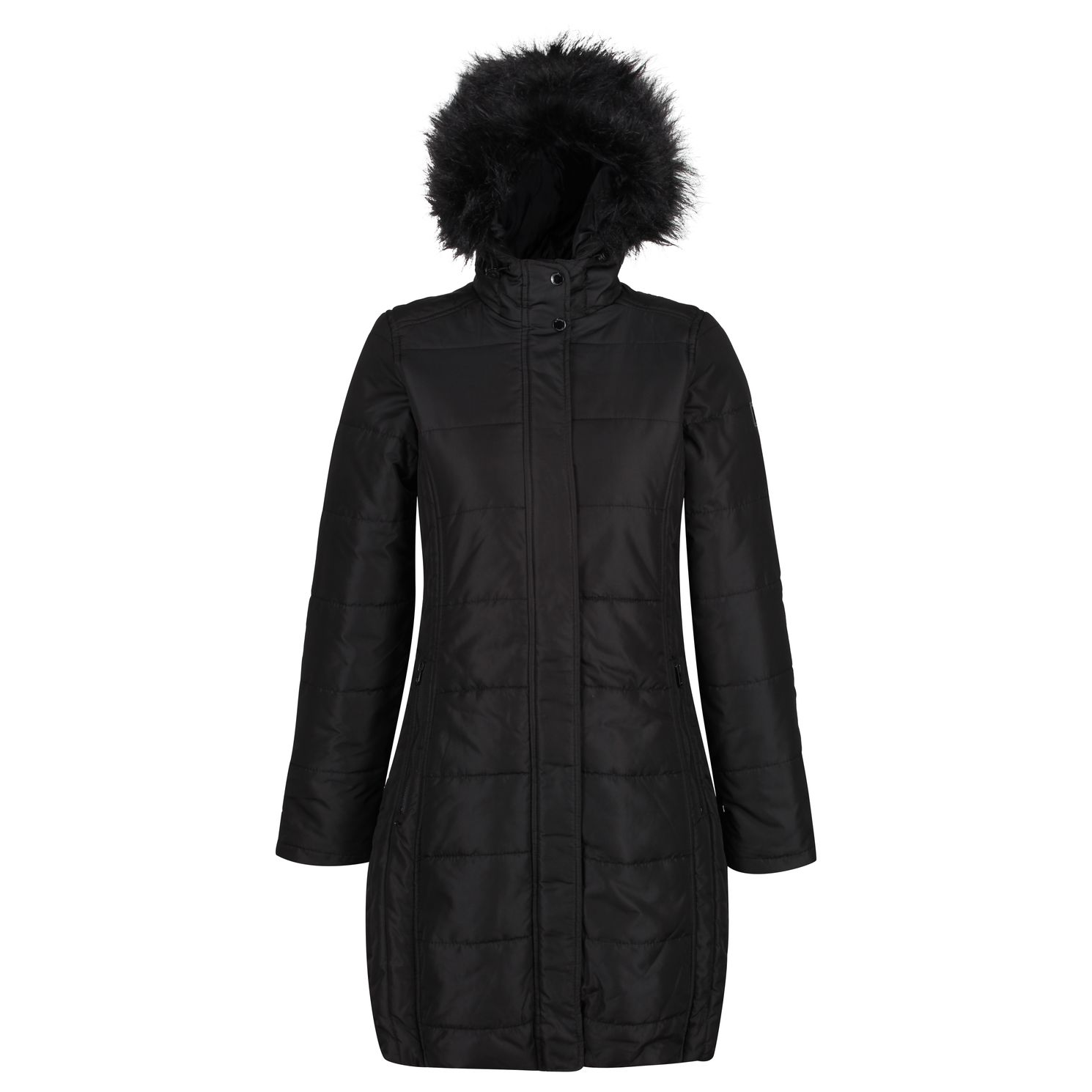 Women's black long jacket with fur hood