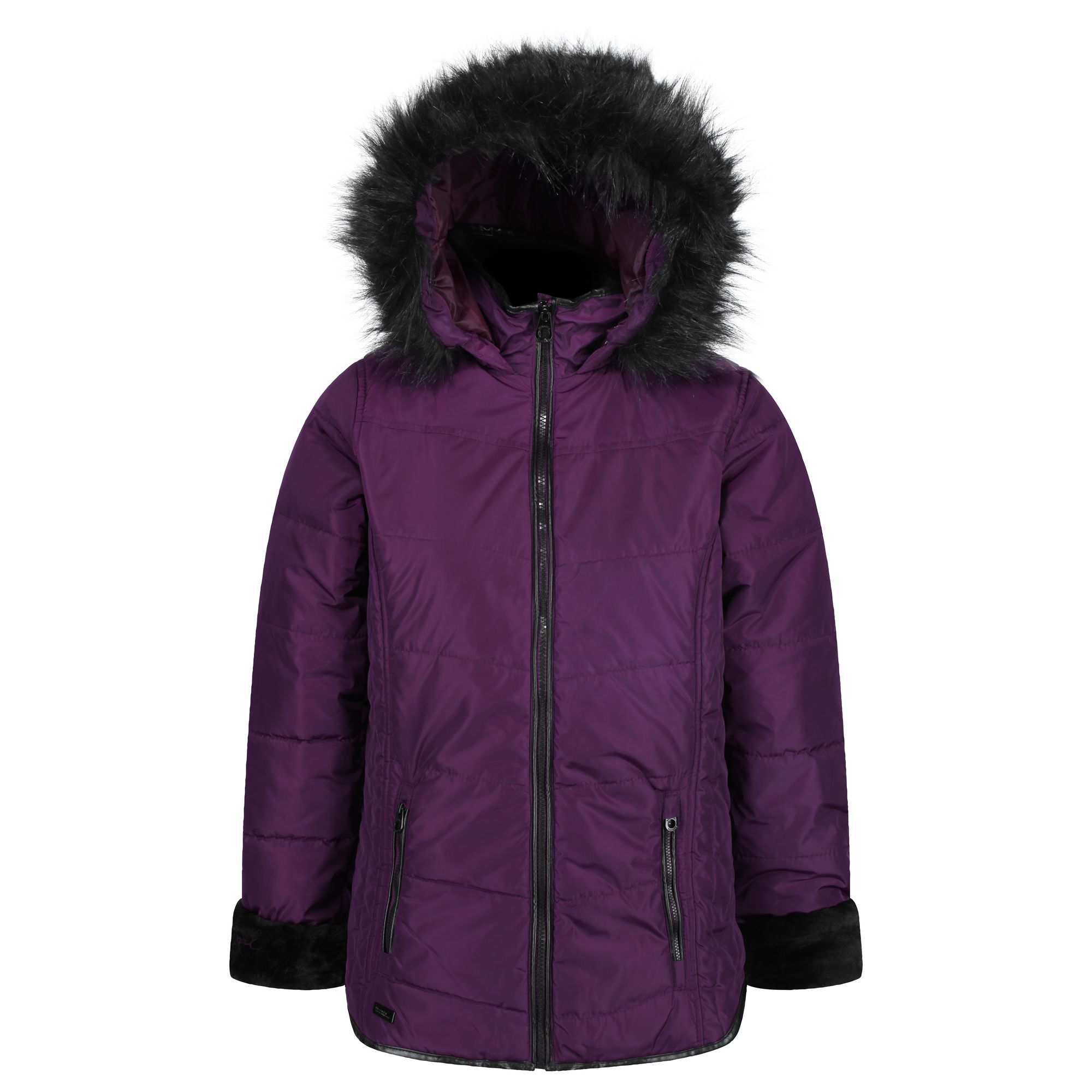 Women's prune coloured thick jacket with fur hood