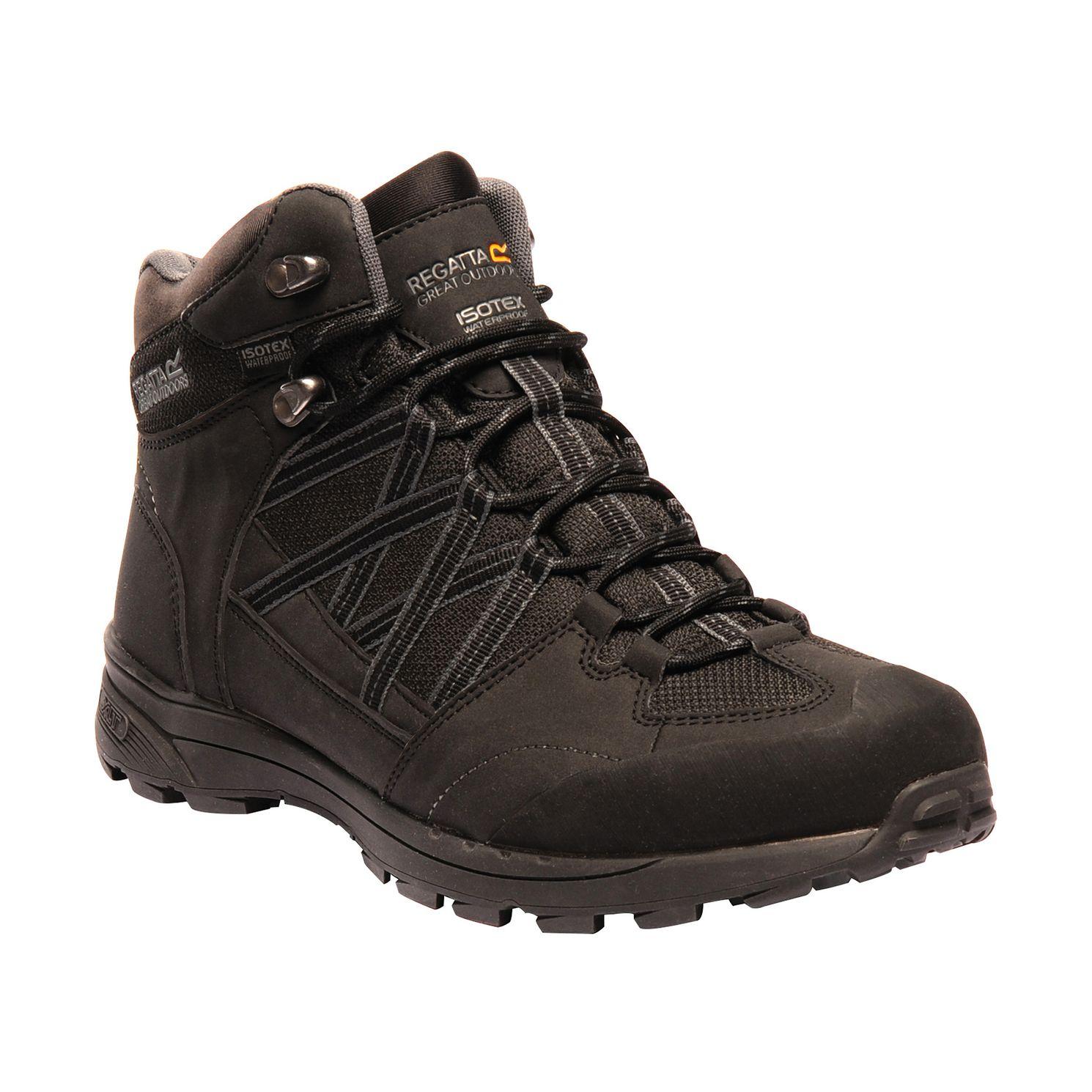 Men's black walking boot.