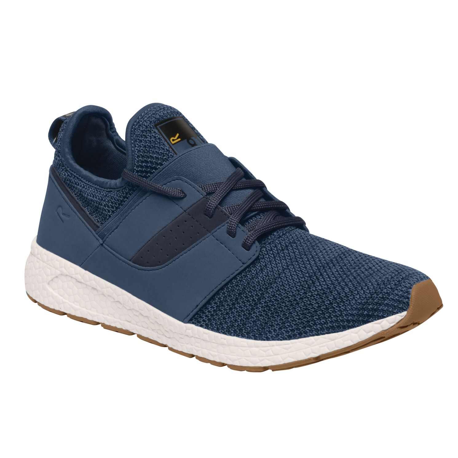 Men's blue trainer with a white sole.