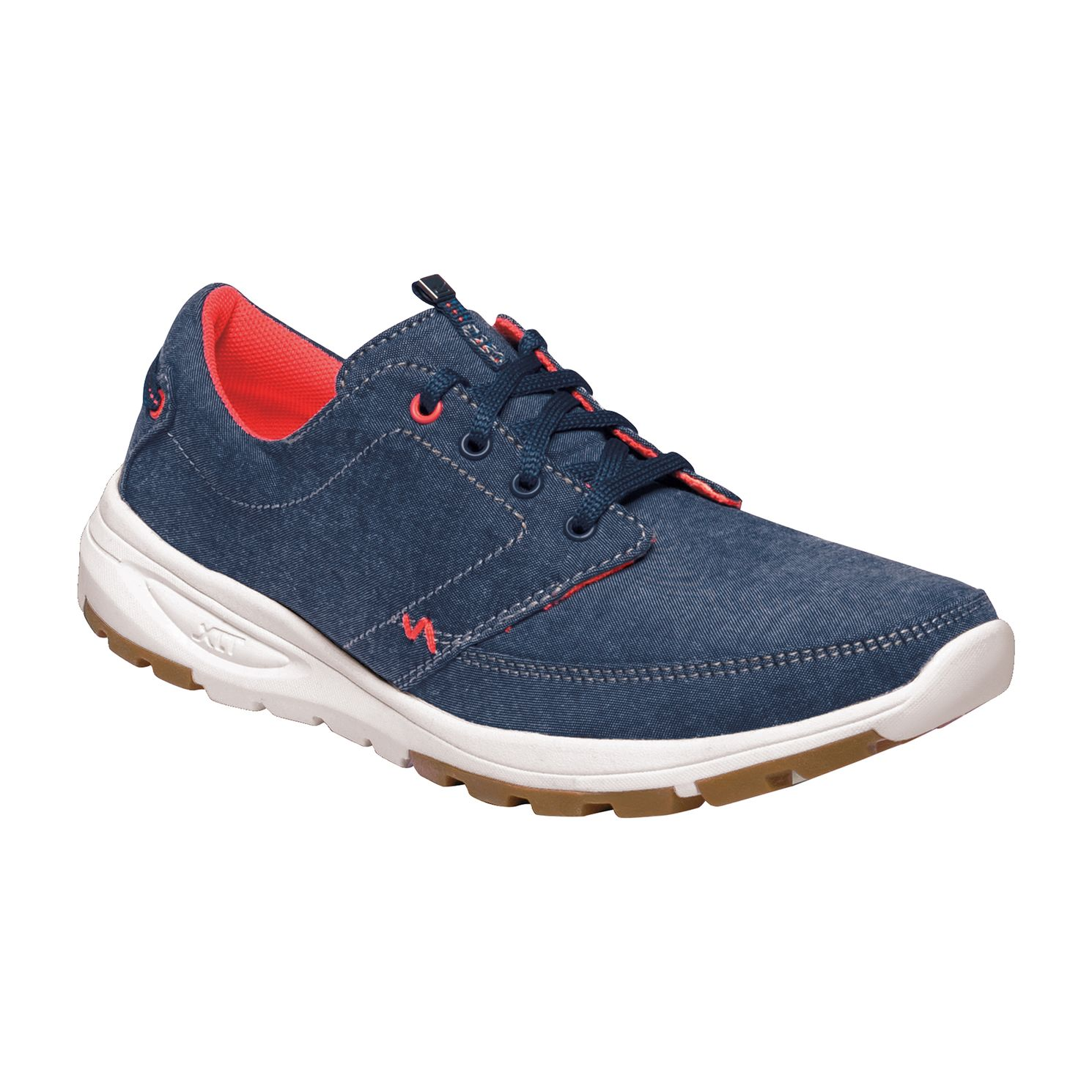 Women's blue trainer, with a white sole and red detailing.