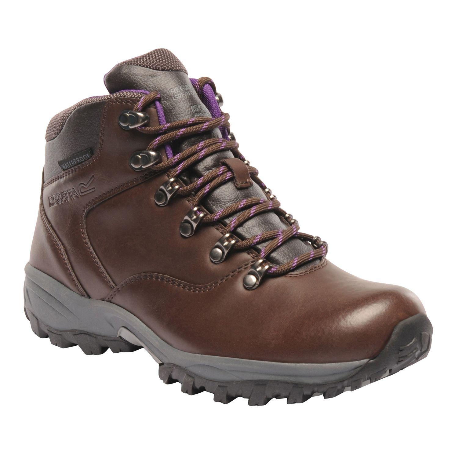 Women's shiny brown walking boot.