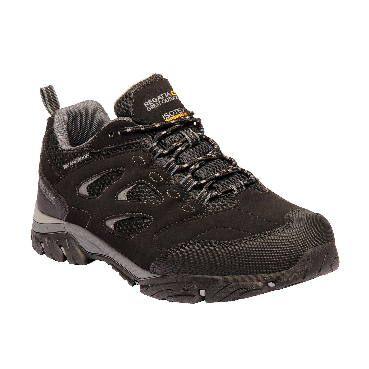 Men's black walking shoe with grey detailing.