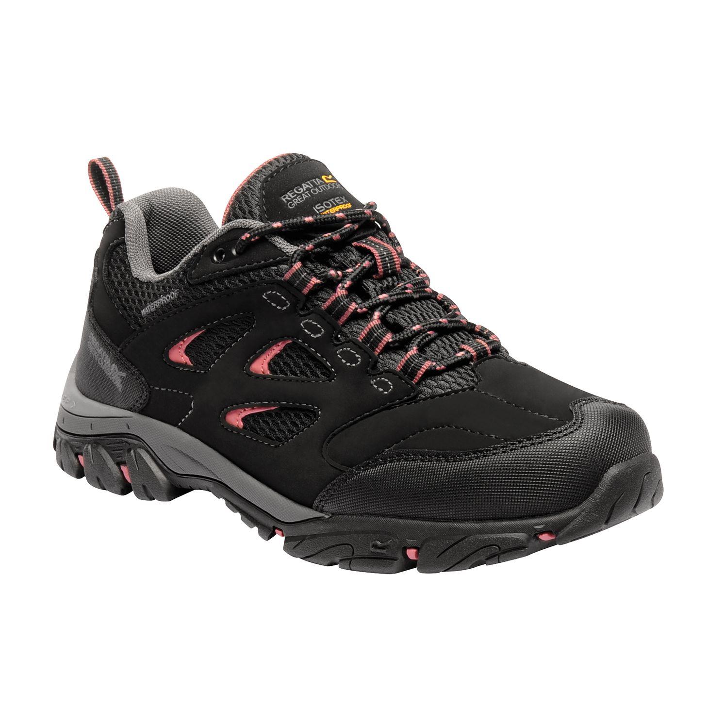 Women's black walking shoe with pink detailing.