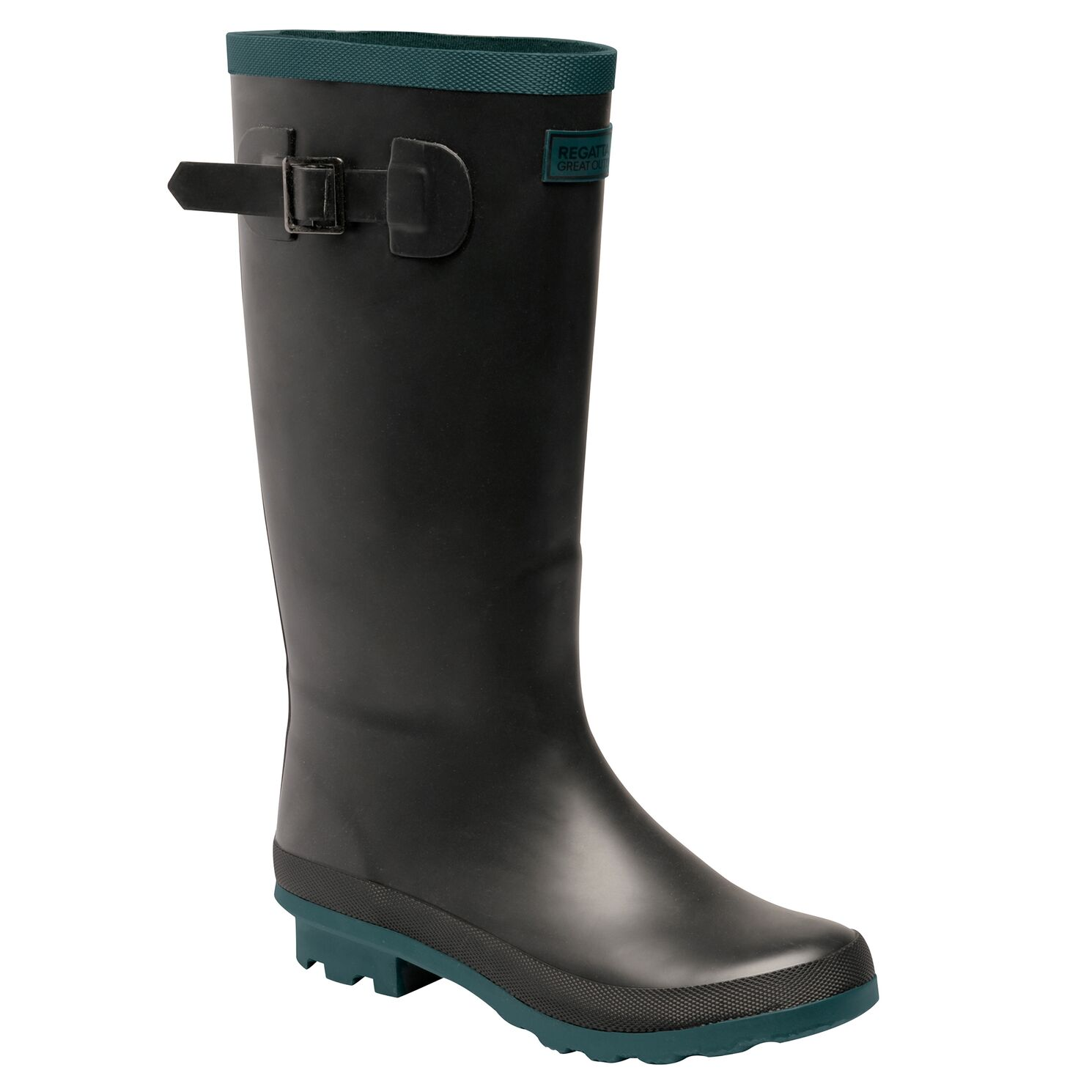 Women's black wellington boot with teal detailing.
