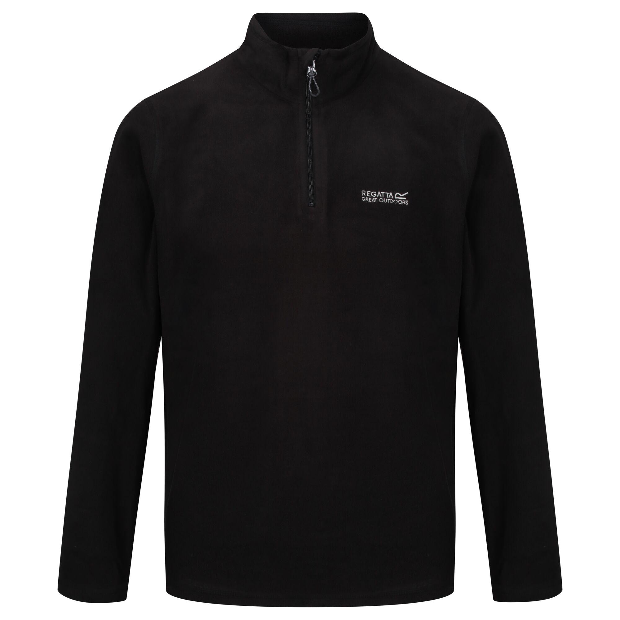 Men's black lightweight quarter-zip fleece.