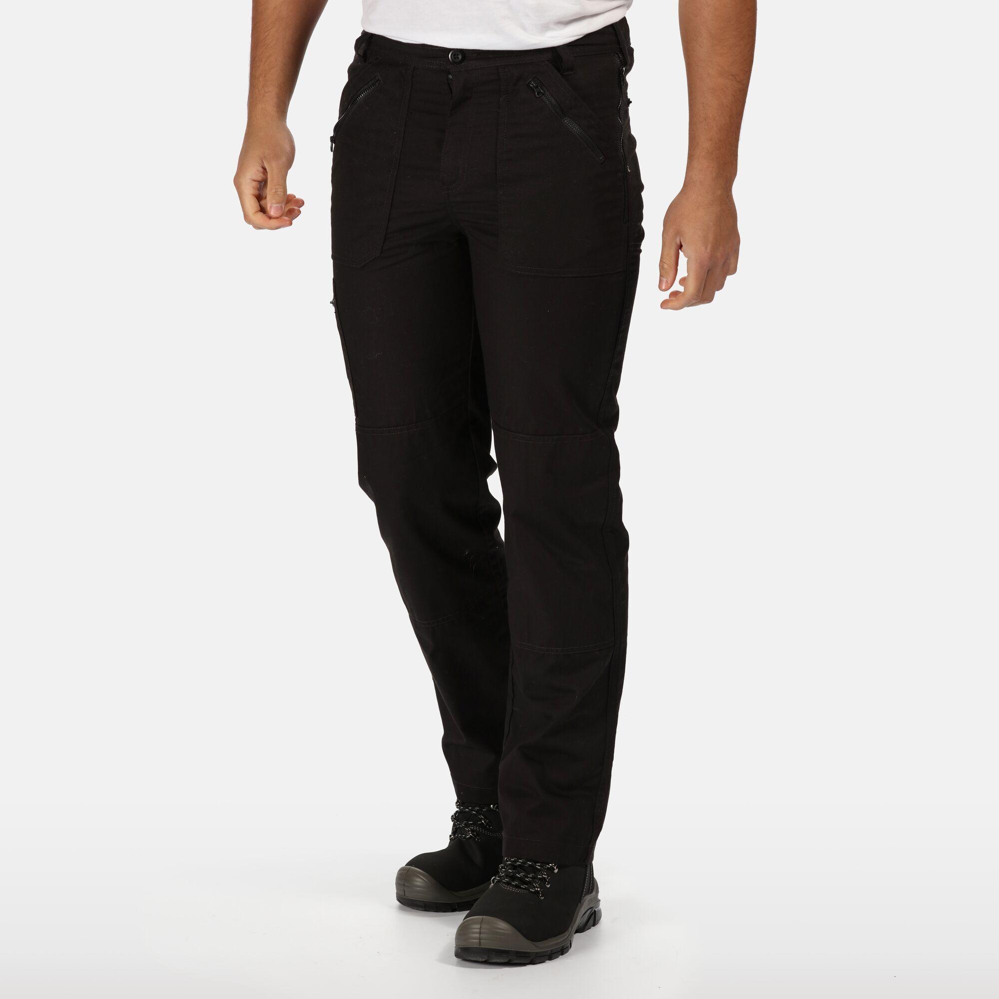 Men's black action trousers.