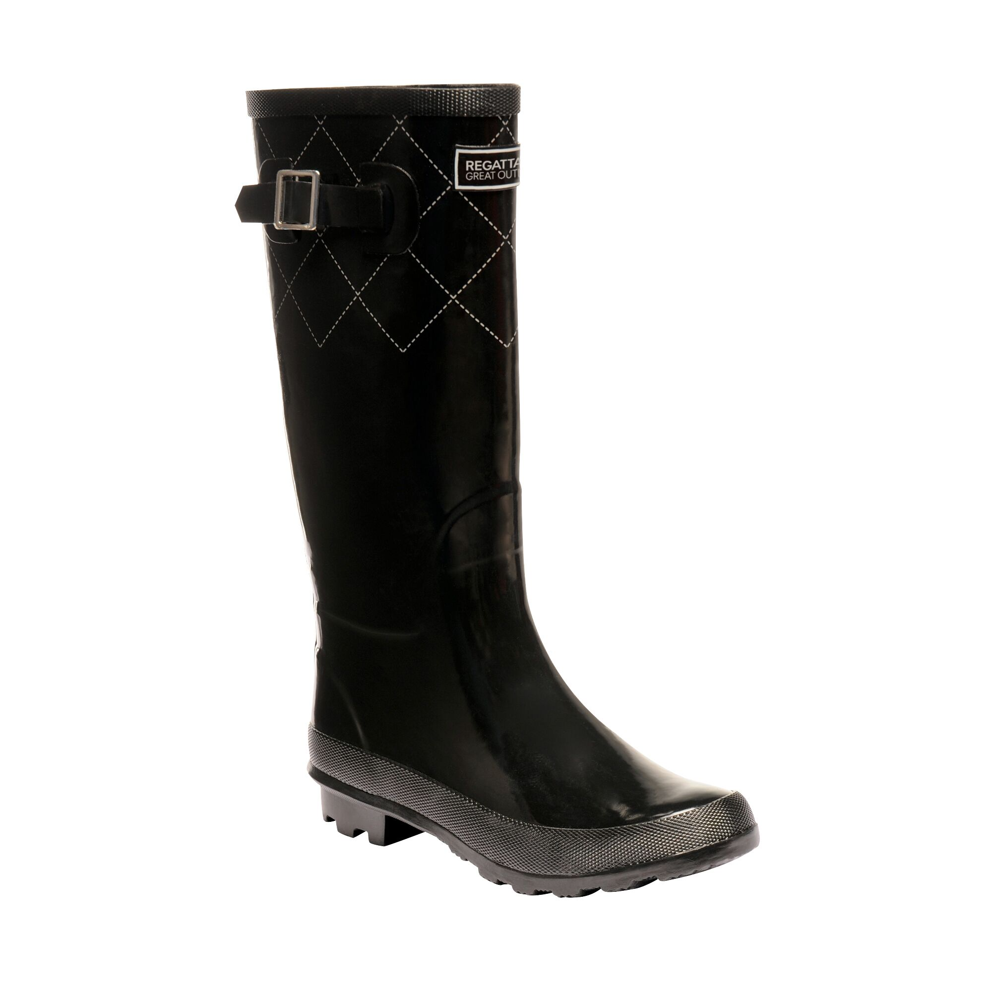 Women's black wellington boots with detailing.