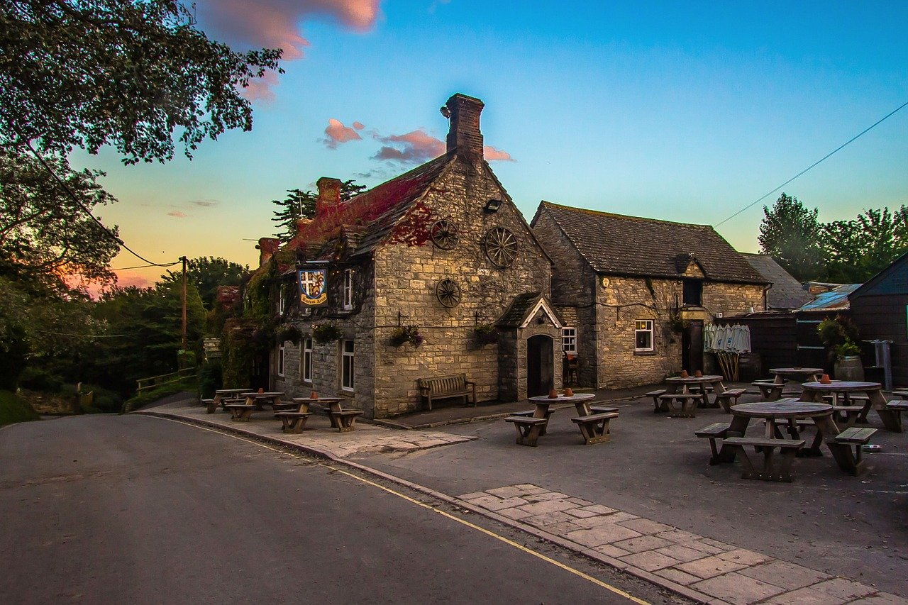 Pub with sunset in sky