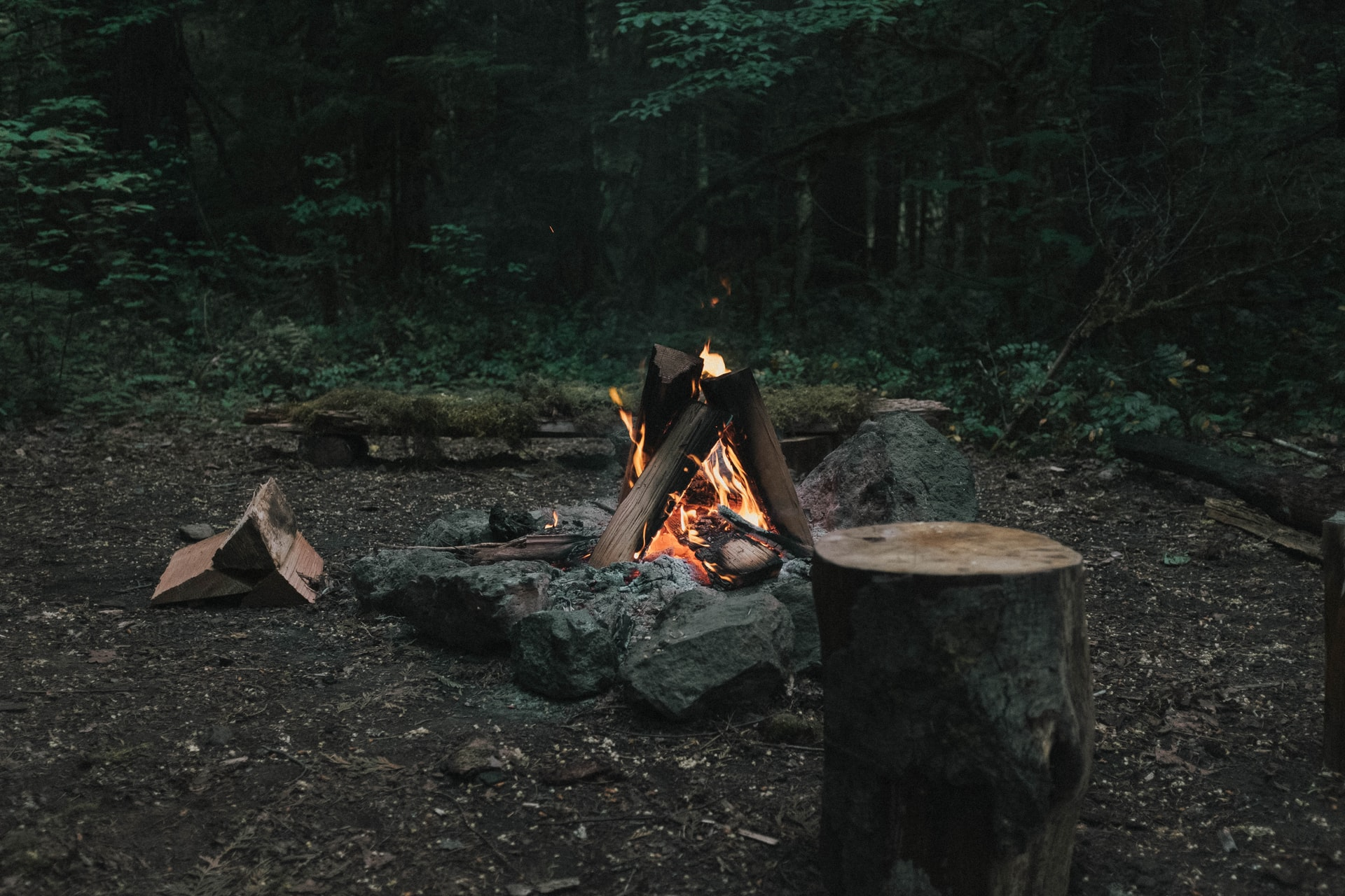 Constructed campfire burning.