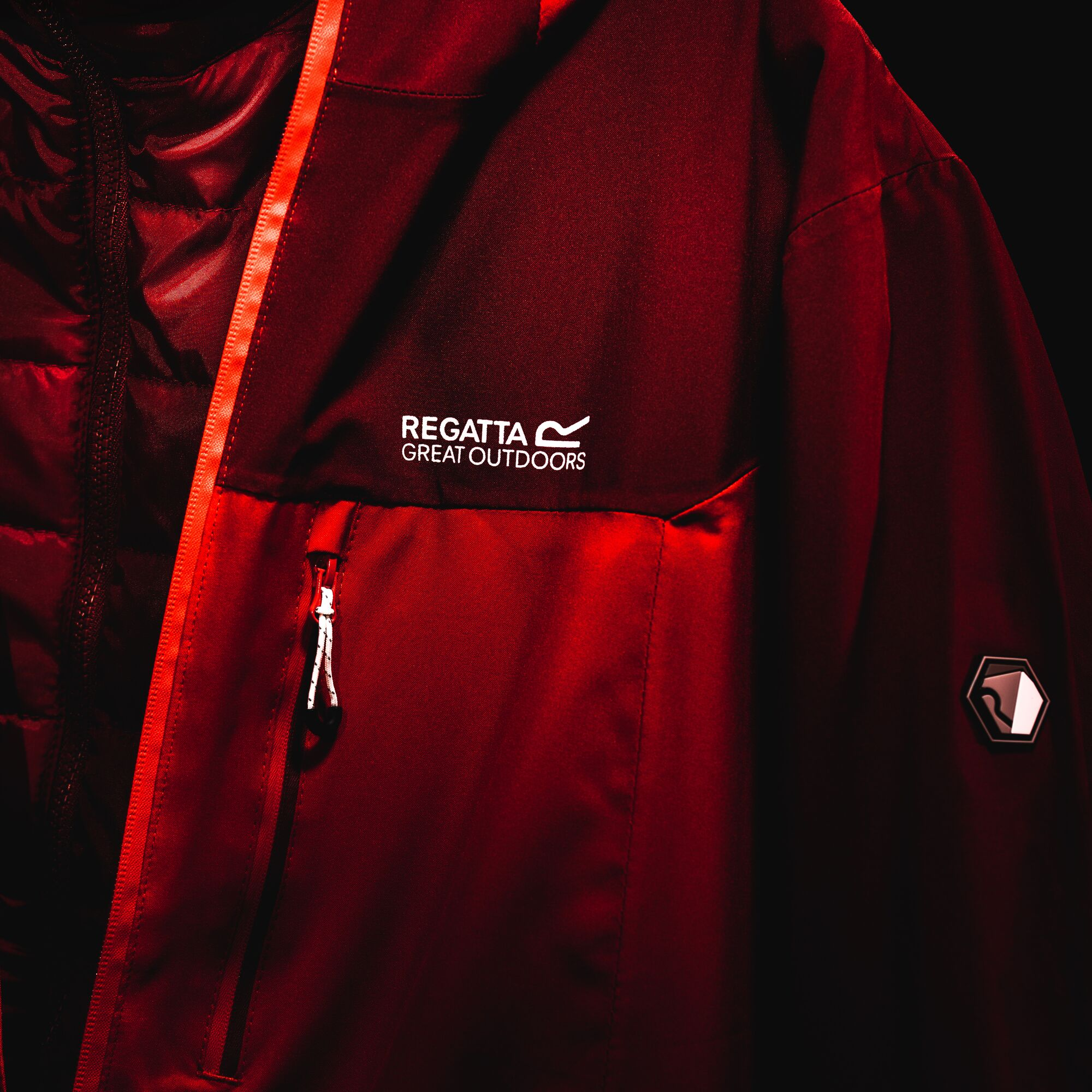 Close-up of a Regatta Isotex jacket in red.