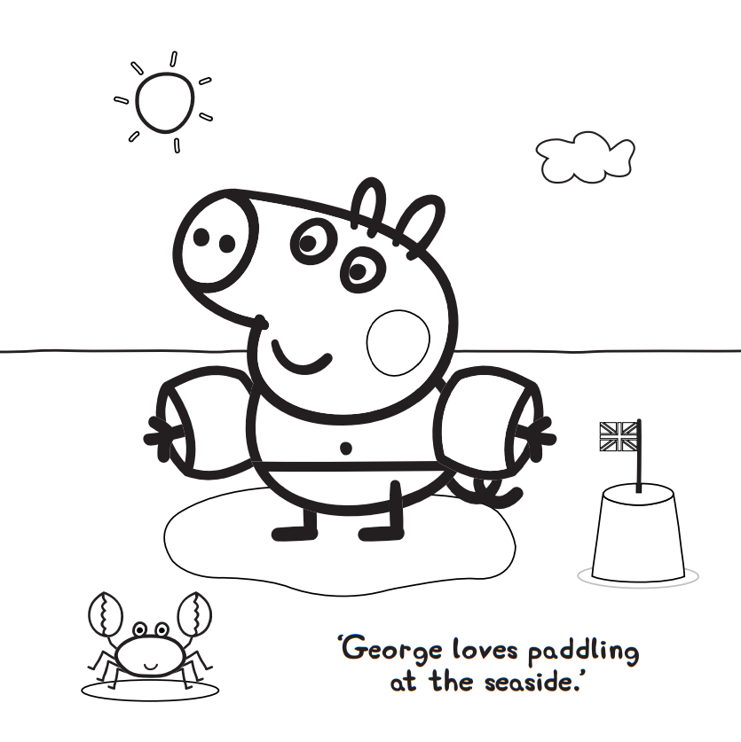 George Pig Playing On Beach